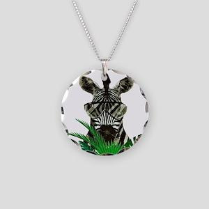 Hipster Zebra Necklace Circle Charm