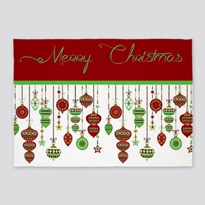 Merry Christmas ornaments 5'x7'Area Rug