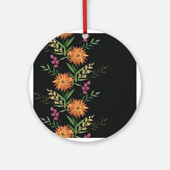 Autumn Flowers Round Ornament