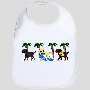labradors go to beach Baby Bib