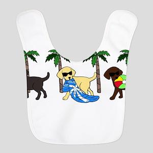 labradors go to beach Polyester Baby Bib