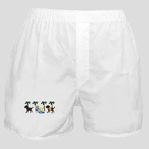 labradors go to beach Boxer Shorts