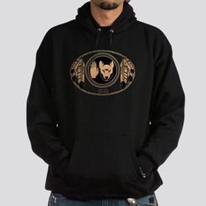 Metis Flag Native Wolf Art Hoodie (dark)