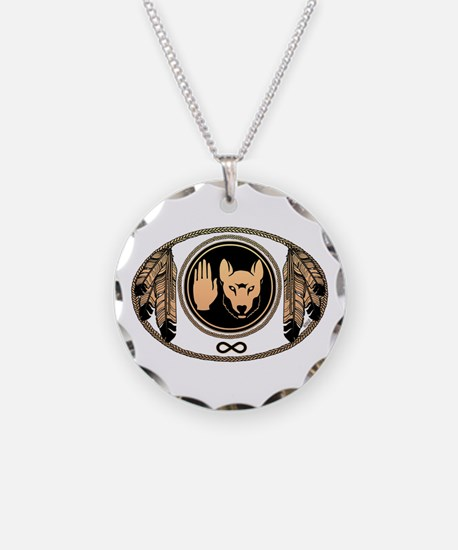 Metis Flag Native Wolf Art Necklace