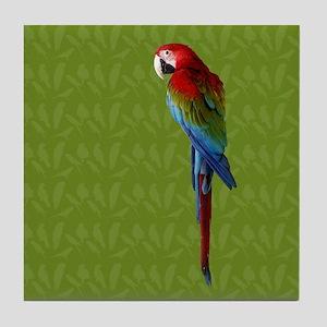 Scarlet Macaw Green Tile Coaster