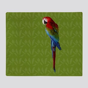 Scarlet Macaw Green Throw Blanket