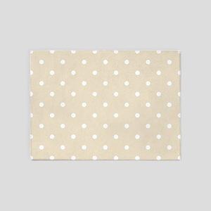 Brown, Muslin Beige: Polka Dots Pat 5'x7'Area Rug