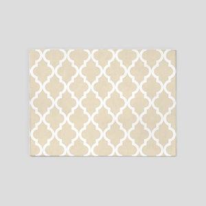 Moroccan Quatrefoil Pattern: Muslin 5'x7'Area Rug