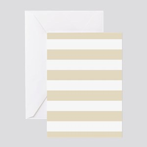 Horizontal Stripes: Muslin Beige Greeting Card