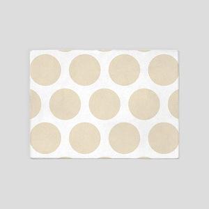 Polka Dots (Large): Muslin Beige 5'x7'Area Rug
