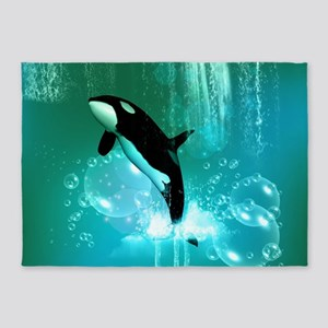 Awesome orca with water splash 5'x7'Area Rug