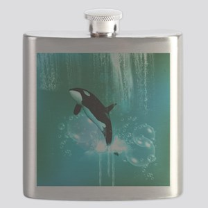 Awesome orca with water splash Flask