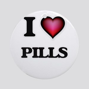 I Love Pills Round Ornament