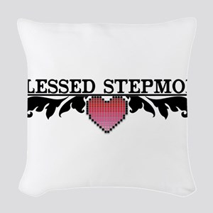BLESSED STEPMOM Woven Throw Pillow