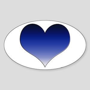 Blue Gradient Heart Oval Sticker
