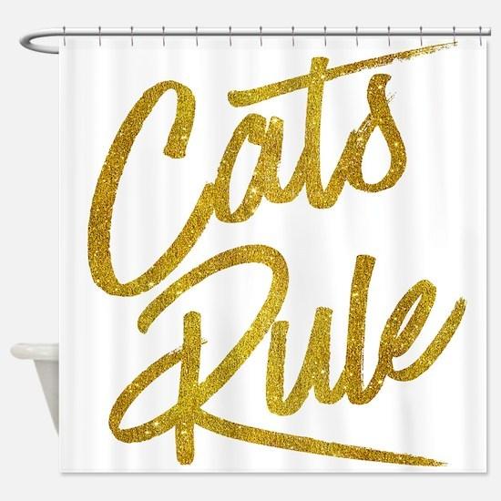 Cats Rule Gold Faux Foil Metallic G Shower Curtain