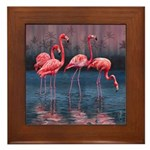 Framed Ceramic Flamingo Tile