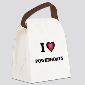 I Love Powerboats Canvas Lunch Bag