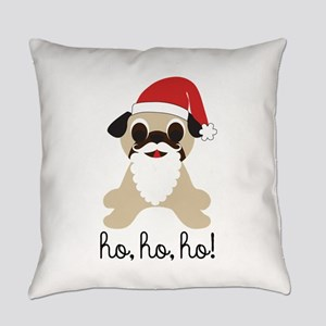 Santa Claus Pug Ho Ho Ho Everyday Pillow