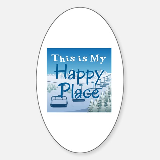 Funny Skiing Sticker (Oval)