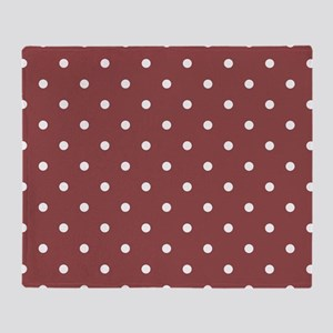 Red, Rustic: Polka Dots Pattern (Sma Throw Blanket