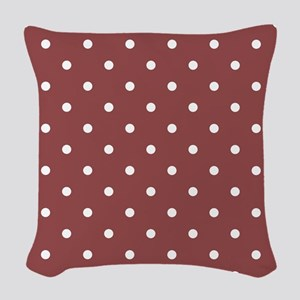 Red, Rustic: Polka Dots Patter Woven Throw Pillow