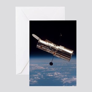 Hubble Space Telescope in orbit Greeting Cards