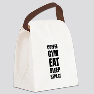 Coffee Gym Work Eat Sleep Repeat Canvas Lunch Bag