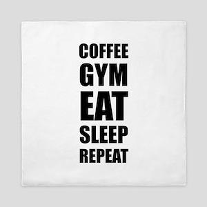 Coffee Gym Work Eat Sleep Repeat Queen Duvet