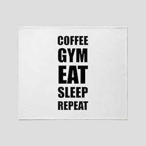 Coffee Gym Work Eat Sleep Repeat Throw Blanket