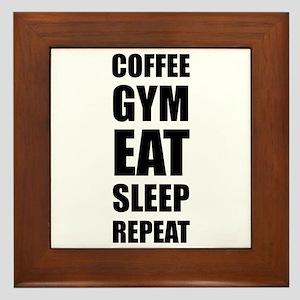 Coffee Gym Work Eat Sleep Repeat Framed Tile