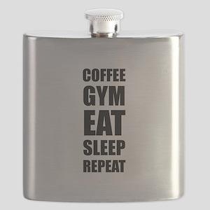 Coffee Gym Work Eat Sleep Repeat Flask