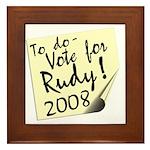 Vote Rudy Giuliani Reminder Framed Tile