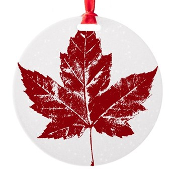 Cool Maple Leaf Souvenirs Canada Round Ornament