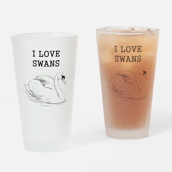 I Love Swans Drinking Glass