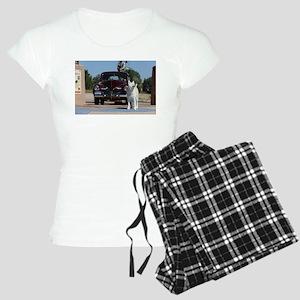 White Akita & Classic Car Pajamas