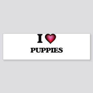 I Love Puppies Bumper Sticker