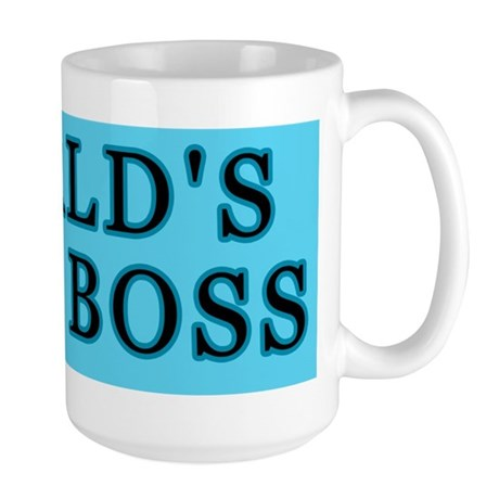 Blue World's Best Boss Large Mug