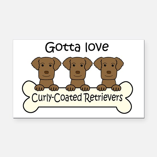 Cute Curly coated retriever Rectangle Car Magnet