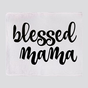 blessed mama black Throw Blanket