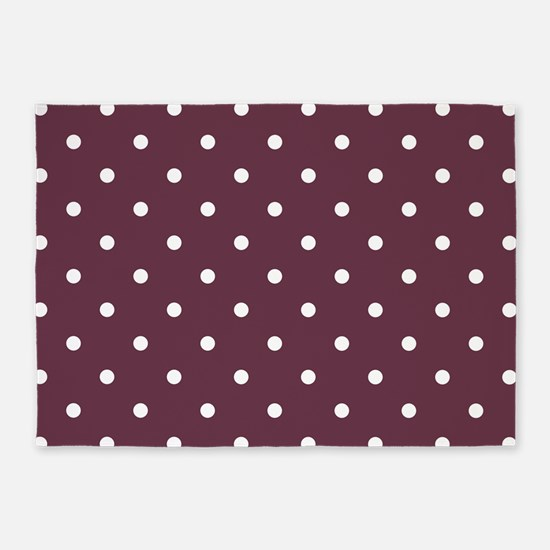 Red, Burgundy: Polka Dots Pattern ( 5'x7'Area Rug