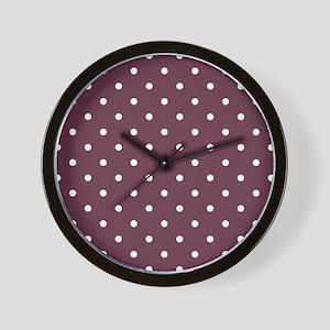 Red, Burgundy: Polka Dots Pattern (Smal Wall Clock
