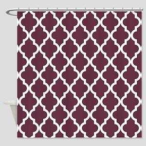 Moroccan Quatrefoil Pattern Burgun Shower Curtain