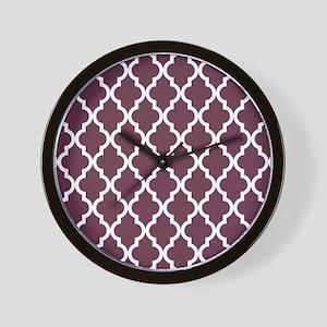 Moroccan Quatrefoil Pattern: Burgundy R Wall Clock