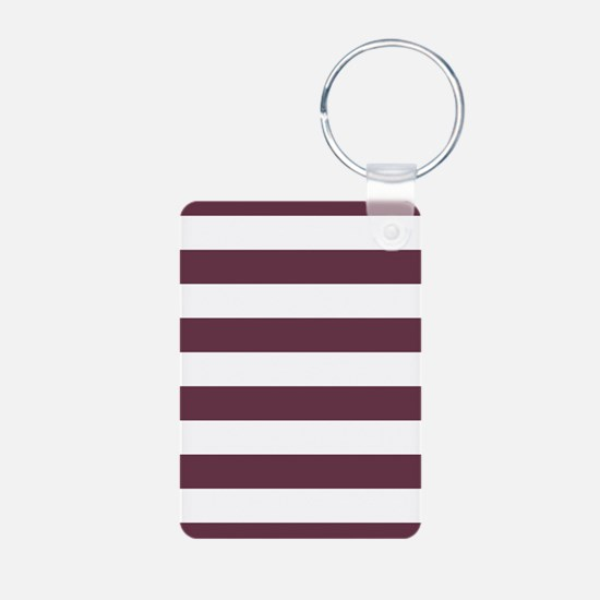 Horizontal Stripes: Burgun Aluminum Photo Keychain