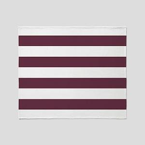 Horizontal Stripes: Burgundy Red Throw Blanket
