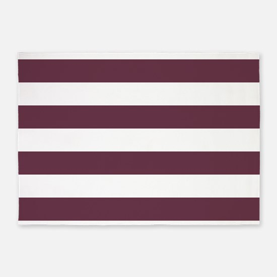 Horizontal Stripes: Burgundy Red 5'x7'Area Rug