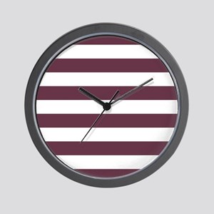 Horizontal Stripes: Burgundy Red Wall Clock