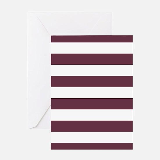 Horizontal Stripes: Burgundy Red Greeting Card