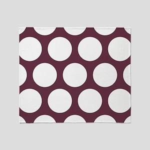 Red, Burgundy: Polka Dots Pattern (L Throw Blanket